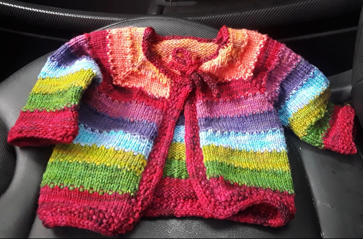 Finished Object Friday:  Tulip Baby Sweater (for girl)